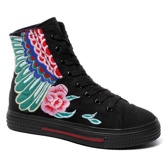 New Flower Embroidery Ankle Boots