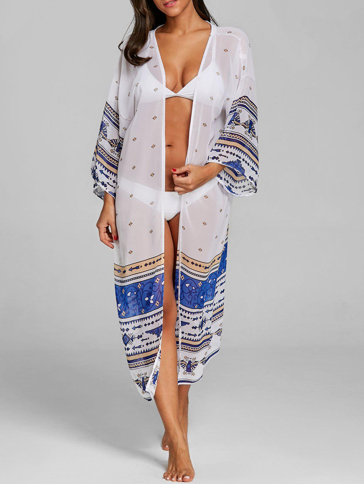 Shops Long See Through Printed Swing Cover Up