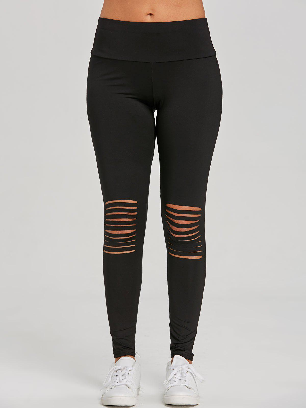 New Distressed Skinny Workout Leggings