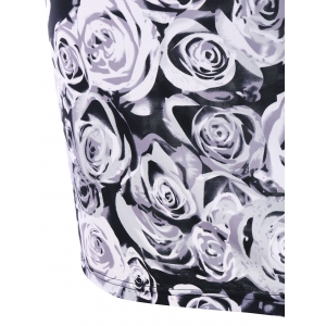 Plus Size Rose Print Bodycon Dress -