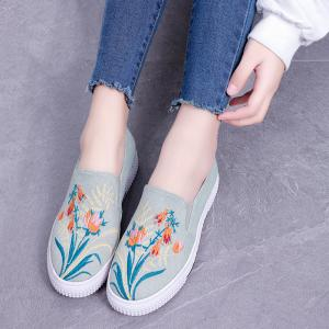 Floral Embroidery Denim Slip On Sneakers -