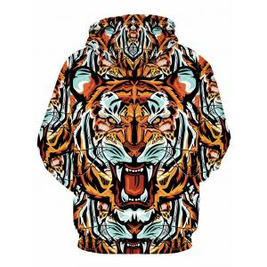 3D Digital Tiger Print Hooded Pullover Hoodie -
