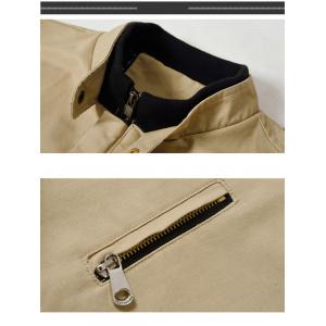 Chest Zipper Stripe Hem Casual Jacket -