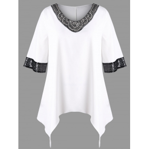 Plus Size Two Tone Sequined Trim Top -