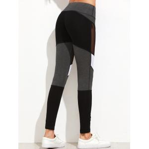 Mesh Panel Color Lump Yoga Leggings -