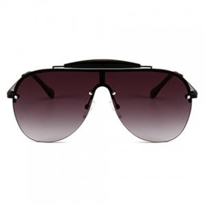 Unique Crossbar Embellished One Piece Sunglasses -