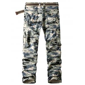 Flap Pockets Straight Camouflage Cargo Pants -