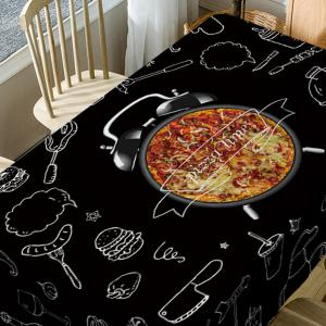 Pizza Clock Print Waterproof Dining Table Cloth -