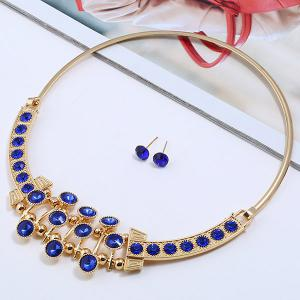 Simple Rhinestone Alloy Necklace with Earrings -