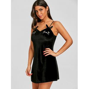 Lingerie Cat Face Velvet Slip Dress with Pad -