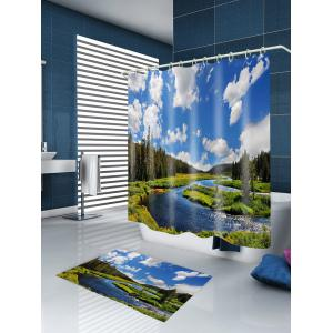 River In Forest Print Waterproof Fabric Shower Curtain -