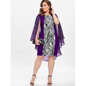 Plus Size Print Sheath Cape Dress -