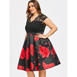 Roses Print Lace Panel Plus Size Dress -
