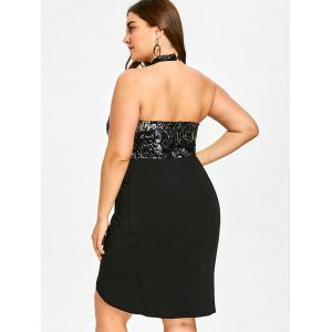 Plus Size Sequined Open Back Tulip Dress -