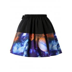 Plus Size Planet and Galaxy Print Skirt -