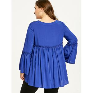Plus Size Flare Sleeve High Low Smock Blouse -