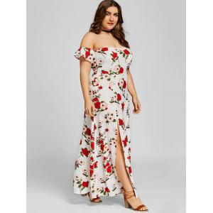 Plus Size Off Shoulder Floral Ankle Length Dress -