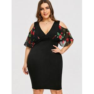 Plus Size Rose Print Surplice Bodycon Dress -