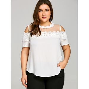 Plus Size See Thru Cold Shoulder Blouse -