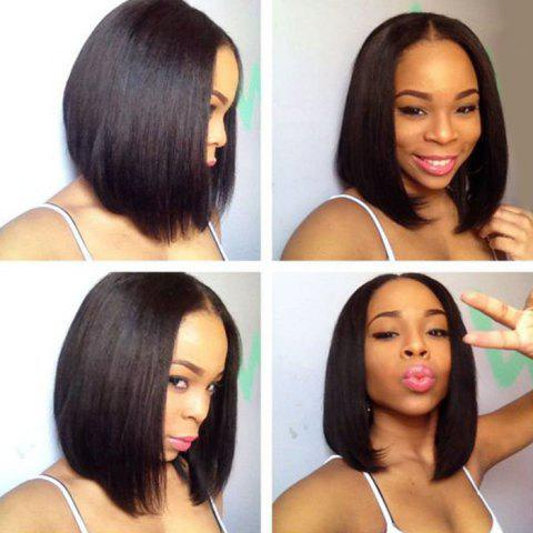 Chic Short Middle Part Straight Bob Lace Front Synthetic Wig