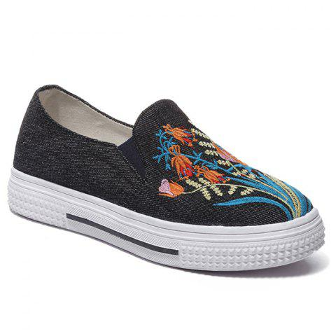 Chic Floral Embroidery Denim Slip On Sneakers