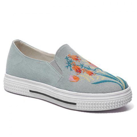 Floral Embroidery Denim Slip On Sneakers - Blue - 36