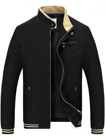 Chest Zipper Stripe Hem Veste décontractée