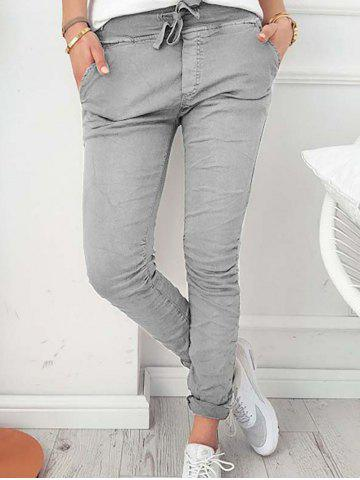 Trendy Drawstring Skinny Pants with pockets