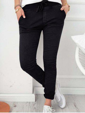 Chic Drawstring Skinny Pants with pockets