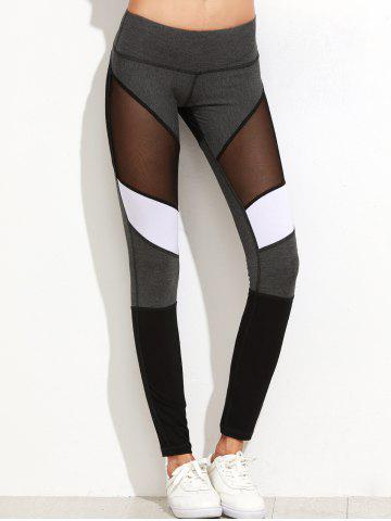 Unique Mesh Panel Color Lump Yoga Leggings