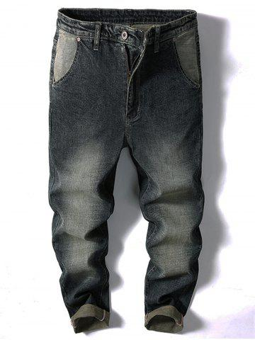 Shops Casual Zipper Fly Faded Jeans