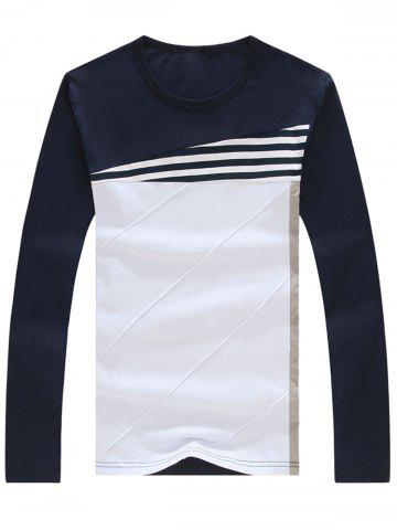 New Stripe Color Block Long Sleeve T-shirt