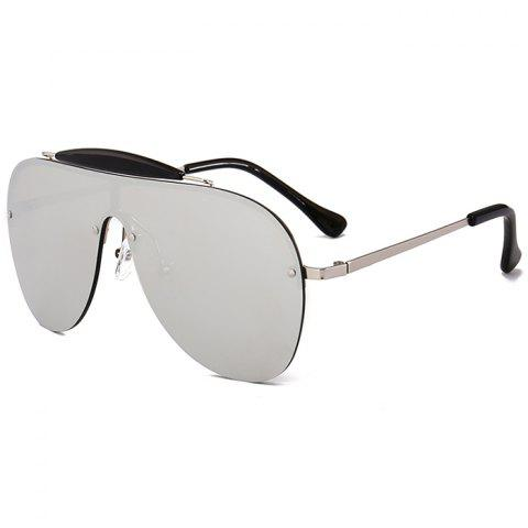 Fancy Unique Crossbar Embellished One Piece Sunglasses