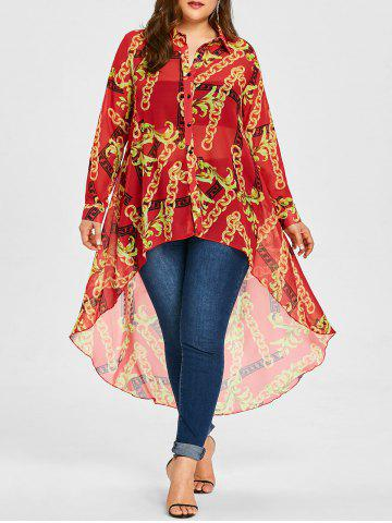 Store Chiffon Plus Size Long High Low Top