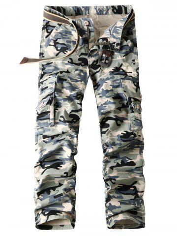 Trendy Flap Pockets Straight Camouflage Cargo Pants