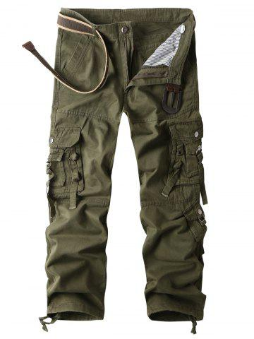 Cheap Zip Fly Multi Pockets Straight Cargo Pants