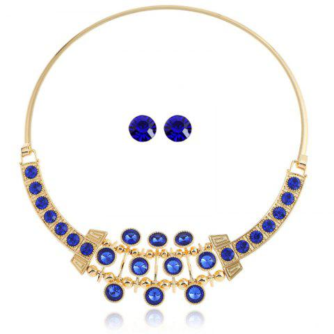 Chic Simple Rhinestone Alloy Necklace with Earrings