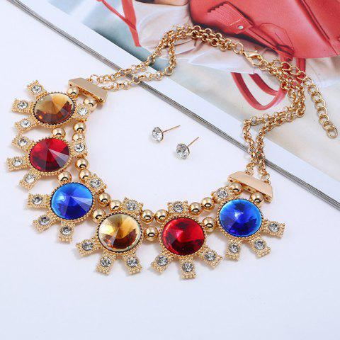 Latest Sparkly Rhinestoned Alloy Round Party Jewelry Set