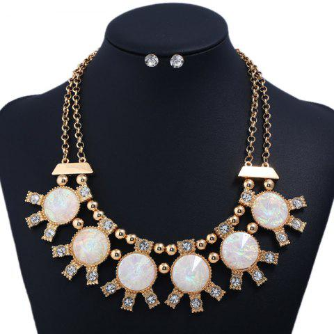 Hot Sparkly Rhinestoned Alloy Round Party Jewelry Set