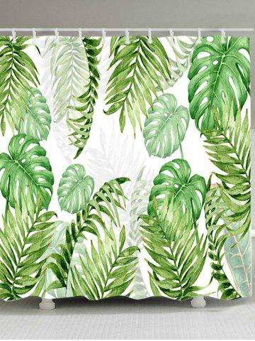 Cheap Tropical Leaves Print Waterproof Fabric Shower Curtain