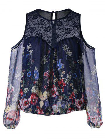 Chic Lace Panel Cold Shoulder Floral Blouse