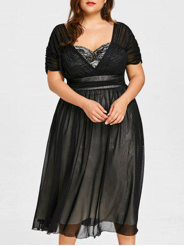 Cheap Plus Size Ruched Sweetheart Neck Tiered Dress