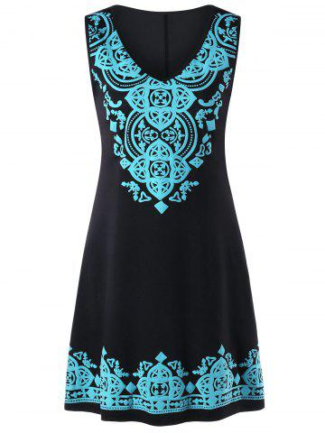 Buy Sleeveless V Neck Tribal Print Dress