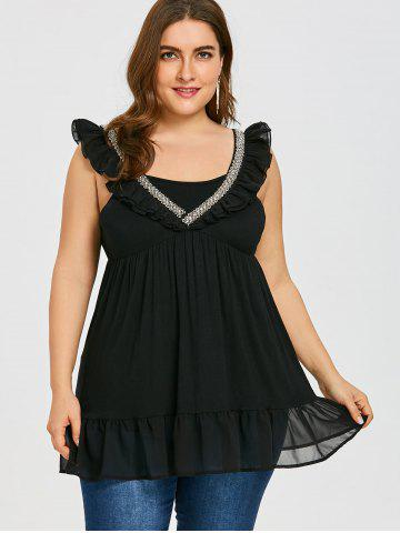 Rhinestone Ruffle Plus Size Sleeveless Blouse