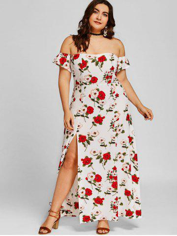 Chic Plus Size Off Shoulder Floral Ankle Length Dress