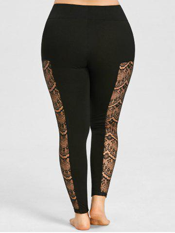 Affordable Plus Size Sheer Lace Panel Leggings