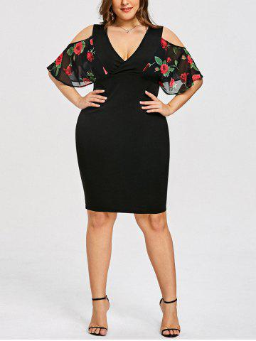 Hot Plus Size Rose Print Surplice Bodycon Dress