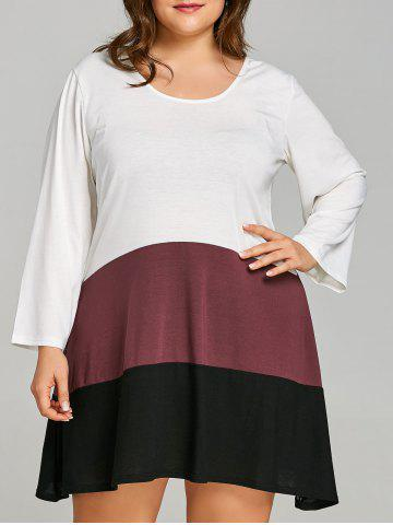 Affordable Plus Size Color Block T-shirt Dress