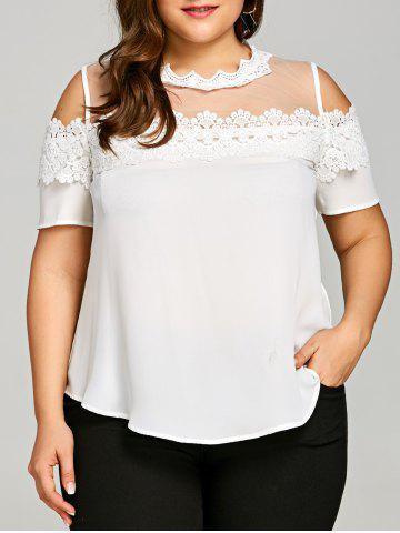 Trendy Plus Size See Thru Cold Shoulder Blouse