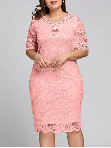 Online Plus Size V Neck Midi Lace Dress